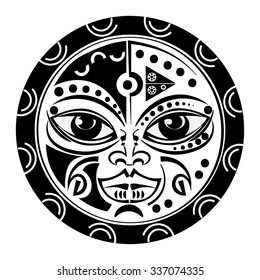 Sacred geometry - Tiki mask tattoo - tradition Polynesian and Maori sacral art,white background.