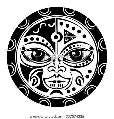 sacred geometry tiki mask tattoo tradition stock vector royalty