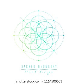 Sacred geometry vector design elements. Alchemy, religion, philosophy, spirituality, symbols and elements. Gradient line on a white background.