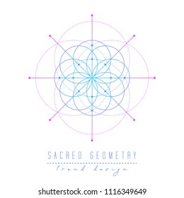 Sacred geometry vector design elements. Alchemy, religion, philosophy, spirituality, hipster symbols and elements. Gradient line on a white background.