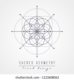 Sacred geometry vector design elements. Alchemy, religion, philosophy, spirituality, hipster symbols and elements. Black line on a white background.