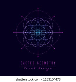 Sacred geometry vector design elements. Alchemy, religion, philosophy, spirituality, hipster symbols and elements. Gradient line on a black background.