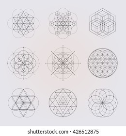 Sacred geometry vector design elements. Alchemy, religion, philosophy, spirituality, hipster symbols and elements. Black line on a gray background.