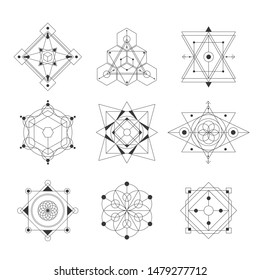 sacred geometry vector illustration black and white  set. Good for logo, design of yoga mat and clothes. Boho style.