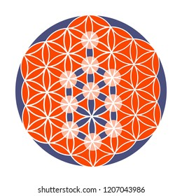 Sacred Geometry vector illustration: Kabbalah Tree of Life on the Pattern of Creation symbol, Also known as Flower of Life. Sacred Geometry Tree Mandala, or cosmic personal creation icon.