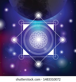 sacred geometry vector illustration on spacy background. Good for logo, design of yoga mat and clothes. Boho style.