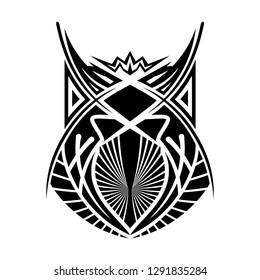 Sacred geometry. Vector image of an owl. Totemic animal. Wisdom symbol. Celtic culture. Black ethnic totemic geometric tattoo. Vector illustration.