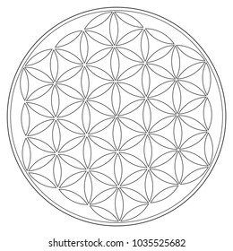 Sacred Geometry Vector Symbol: Flower of Life, also known as The Pattern of Creation. Sacred Seed and Flower of Life symbols represent geometry as it emerges from the Creator.