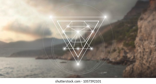 Sacred geometry web banner. Math, nature, and spirituality in nature.  Interlocking circles and triangles hipster illustration with golden ratio digits in front of photographic background.