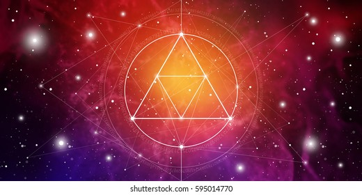 Sacred geometry website banner with golden ratio numbers, interlocking  circles and triangles, flows of energy and particles in front of outer space background. The formula of nature.