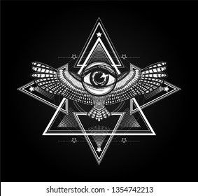 Sacred geometry with wings and magic look. Ancient greece ornament. Masonic symbol. Black and white illustration. to be use for tatto art, print t shirt. Line art.