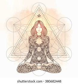 Sacred geometry. Woman ornate silhouette sitting in lotus pose. Meditation, aura and chakras. Vector illustration.