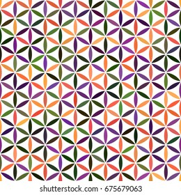 Sacred geometry yellow, purple, orange, green, violet gradient flower of life texture on white background. Seamless pattern. Abstract vector overlapping circle ornament illustration.