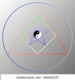 Sacred geometry with yin yang symbol