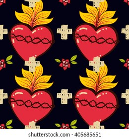 Sacred Heart, cross, rose seamless pattern old schooll tattoo style. Hand drawn vector for T-shirt, love vintage poster. Philosophy wrapping paper, textile, fabric religion,  spirituality,  magic.