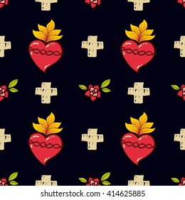 Sacred Heart, cross, rose seamless pattern old schooll tattoo style.