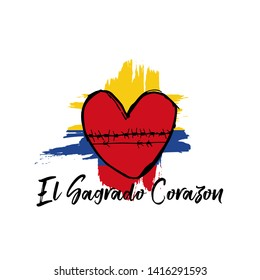 Sacred Heart greeting card, banner, poster design print. Colombia flag grunge vector on white background with red heart and spanish type - El Sagrado Corazon. Colombia national holiday- Vector
