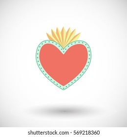 Sacred heart icon. Flat design of flaming heart with dots with round shadow. Vector illustration