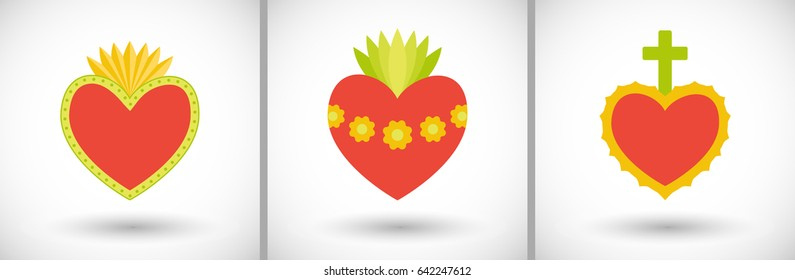 Sacred heart icons set. Flat design of flaming hearts with round shadow. Vector illustration