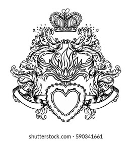 Sacred Heart of Jesus with baroque ribbons. Vector illustration black isolated on white. Trendy Vintage style element. Spirituality, occultism, alchemy, magic, love. Coloring book. Tattoo design.