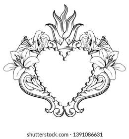 Sacred heart of Jesus. Beautiful ornamental heart with lilies, crown in black color isolated on white background. Vector illustration.
