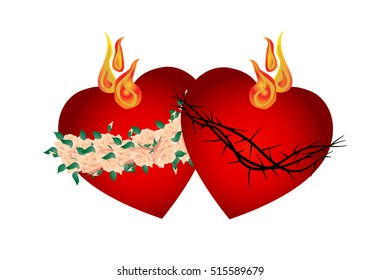 Sacred Heart of Jesus Christ and Immaculate Heart of Virgin Mary, Mother of God, with thorns, roses and flames. Traditional catholic color vector illustration.