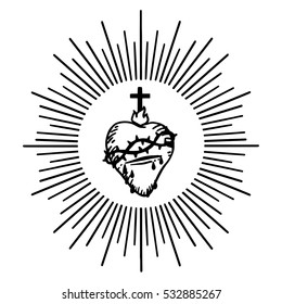 Sacred Heart of Jesus. Isolated vector illustration. Trendy Vintage style element. Spirituality, occultism, alchemy, magic, love. Flesh tattoo style.