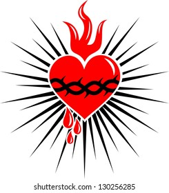 sacred heart of jesus - rays - vector image