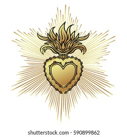 Sacred Heart of Jesus with rays. Vector illustration in gold isolated on white. Trendy Vintage style element. Spirituality, occultism, alchemy, magic, love. Coloring book for adults.