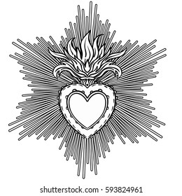 Sacred Heart of Jesus with rays. Vector illustration black isolated on white. Trendy Vintage style element. Spirituality, occultism, alchemy, magic, love. Coloring book for adults.