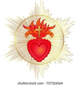 Sacred Heart of Jesus with rays. Vector illustration in red and gold isolated. Trendy Vintage style element. Spirituality, religion, Catholicism, Christianity, occultism, alchemy, magic, love.
