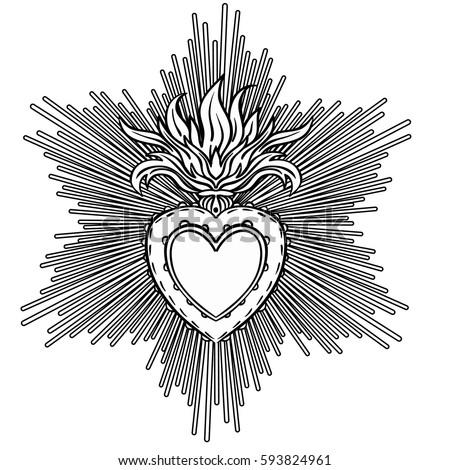 sacred heart jesus rays vector illustration stock vector