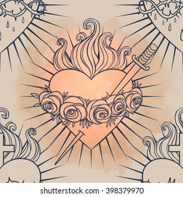 Sacred Heart of Jesus. Seamless pattern. Vector illustration. Trendy Vintage style element. Wrapping paper, religion, Christianity, philosophy, spirituality, alchemy, magic, love. Design tattoo art.