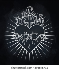 Sacred Heart of Jesus. Vector chalk illustration over vintage blackboard. Trendy Vintage style element. Dark romance, philosophy, spirituality, occultism, alchemy, magic, love. Design tattoo art.