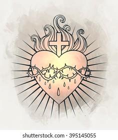Sacred Heart of Jesus. Vector illustration over vintage background.