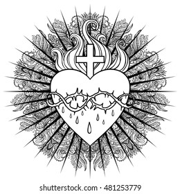 Sacred Heart of Jesus. Vector illustration isolated on white over mandala background. Vintage style element. Spirituality, occultism, alchemy, magic, love. Coloring book for adults.