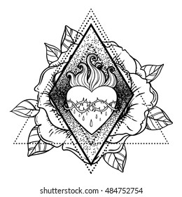 Sacred Heart of Jesus. Vector illustration isolated on white over roses floral and geometric background. Vintage style element. Religion, occultism, alchemy, magic, love. Coloring book for adults.