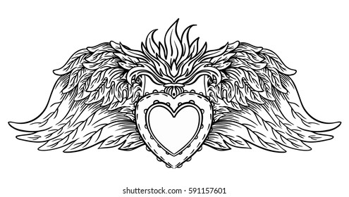 Sacred Heart of Jesus with wings. Vector illustration black isolated on white. Trendy Vintage style element. Spirituality, occultism, alchemy, magic, love. Coloring book for adults. Tattoo design.