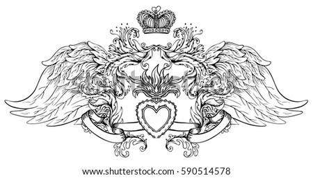 Sacred Heart Jesus Wings Vector Illustration Stock Vector Royalty