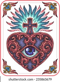 Sacred Heart made in dotted line technique.