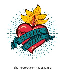 Sacred Heart print old schooll style. Hand drawn vector for T-shirt, vintage  poster with grunge texture.