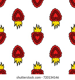 sacred heart seamless doodle pattern