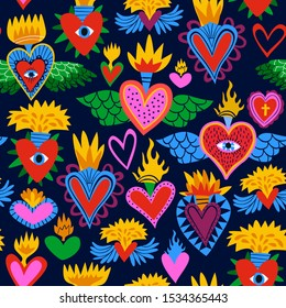 Sacred heart seamless pattern, colorful religious hearts on fire. Flat cartoon style background for valentines, day of the dead or traditional religion event.