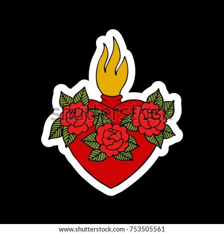 Sacred Heart Traditional Tattoo Flash Vector De Stock Libre De
