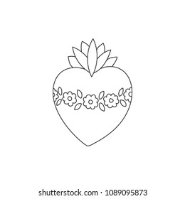 Sacred heart vector doodle illustration , hand drawn saint flaming heart with flame, sacred heart of Virgin Mary
