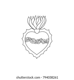 Sacred heart vector doodle illustration , hand drawn saint flaming heart with flame, sacred heart of Jesus