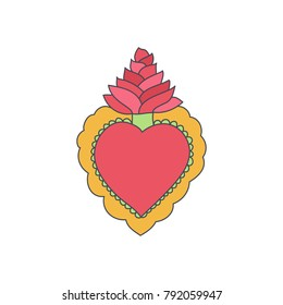 Sacred heart vector icon, Doodle illustration of hand drawn saint flaming heart isolated on the white background