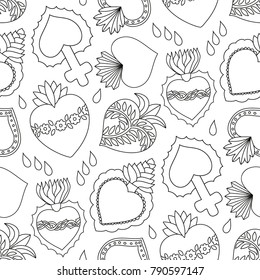 Sacred heart vector seamless pattern, Doodle illustration of hand drawn saint flaming heart isolated on the white background, black and white surface design