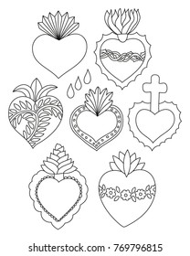 Sacred heart vector set. Doodle illustration of hand drawn saint flaming hearts with plants, flowers, cross and blood drops