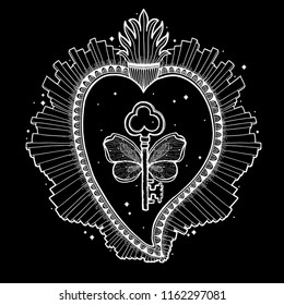 Sacred holy heart Jesus. Sacrament Religion symbol. Mystical icon hand drawn print. Mexico simbol.Vector illustration vintage .